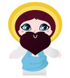 Cute Jesus Christ character isolated on white