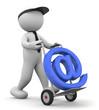 omino bianco che trasporta simbolo E-mail
