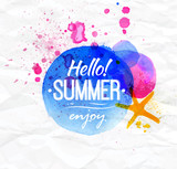 Poster watercolor lettering Hello summer enjoy on a crumpled pap