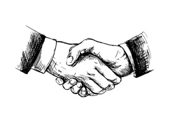 Drawing shake hands. Vector illustration