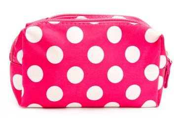 Pink cosmetic bag isolated on white
