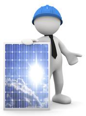 tecnico con pannello solare