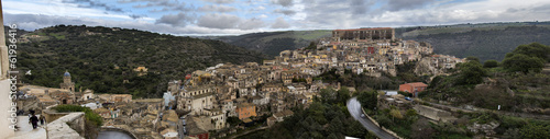 wide panorama of medieval town of Ragusa