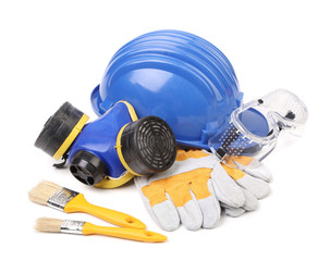 Blue hard head gloves and tools.