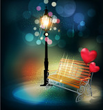 vector background with a lantern, bench, and two balloons