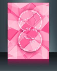 Beautiful happy women's day colorful template brochure reflectio