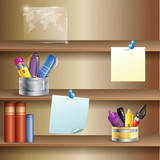 Office shelves with stationery tools