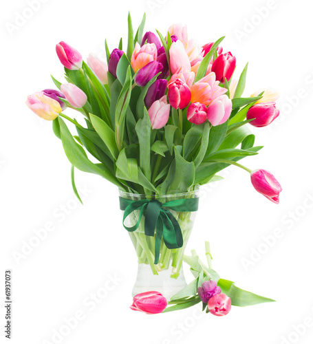 pink and violet tulips bouquet in vase