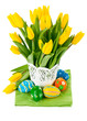 Easter egg with spring flowers. Isolated on white background