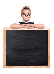 Schoolboy holding the school blackboard