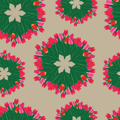 seamless patterns made from bouquets of tulips.