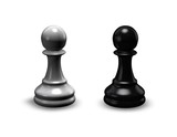chess pieces black and white isolated shiny pawns