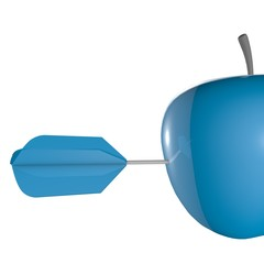 aim abstract concept with blue apple and arrow