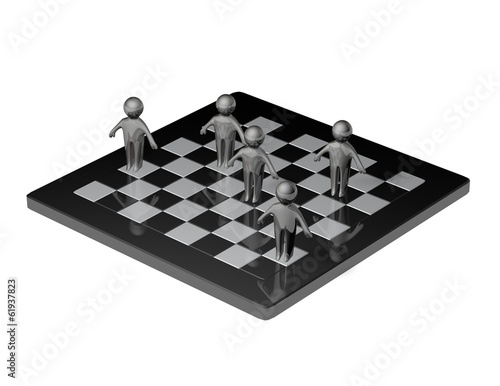 team and strategy concept with chess board