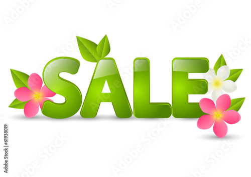 Spring sale message with flowers