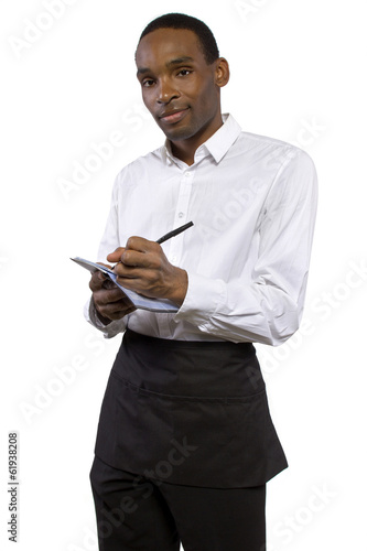 waiter wearing an apron on white background