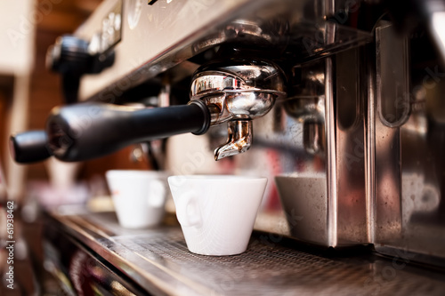 Deurstickers Koffie Espresso machine making coffee in pub, bar, restaurant