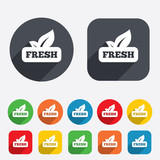 Fresh product sign icon. Leaf symbol.