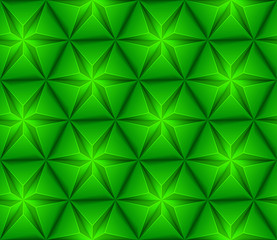 3d Abstract seamless background with green triangles star
