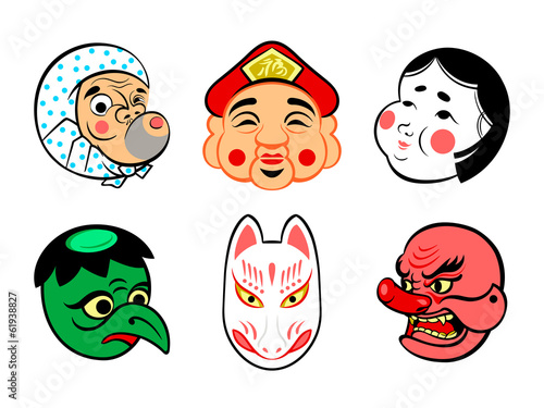 Japanese comical festival masks