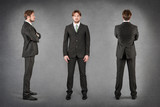 Young businessman full body portrait in different positions agai