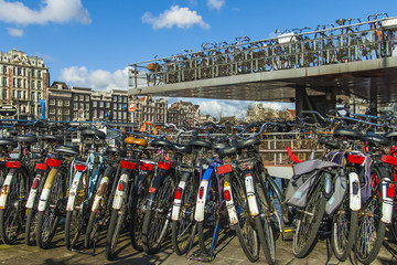 Amsterdam, The Netherlands. Bike parking on city street