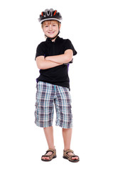 Boy cyclist full length portrait with crossed hands