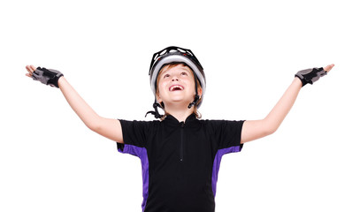 Little cyclist making a holding gesture