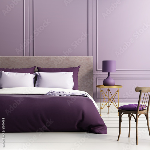 Contemporary elegant luxury elegant purple bedroom