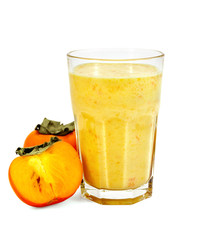 Milkshake with persimmons in a glass