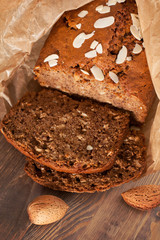 Banana bread with almond in baking paper