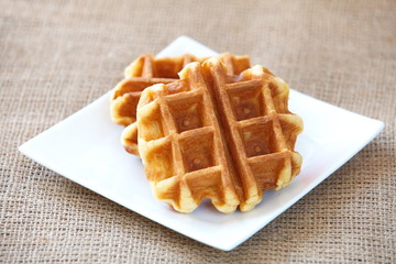 tasty fresh and unhealthy belgian sugar waffles