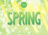 Nature spring background with 3D word and flowers. Vector eps10