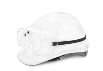 white hard hat and googles
