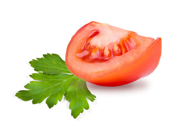 slice of tomato and a leaf parsley