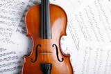 Violin on an notes background