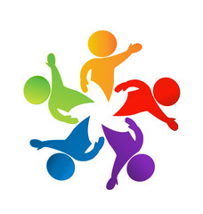 Teamwork hi people icon vector