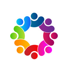 Teamwork diversity people logo vector