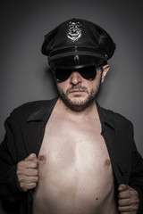 Cop, Good looking policeman, sexy police with sunglasses over da