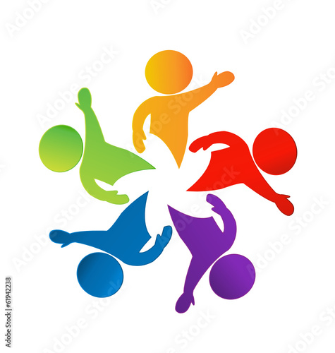 Teamwork hi people icon vector