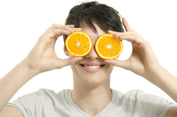 Happy man holding in front of his eyes oranges
