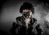 Male biker with sunglasses era dressed Leather jacket, huge smok