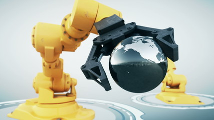 Robotic arm with metallic globe