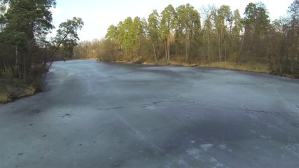 winter wood with frozen lake. Aerial landscape