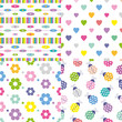 abstract, hearts, flowers and ladybugs pattern collection