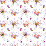 Watercolor magnolia seamless pattern