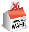 Wahlurne als Haus mit Wahlzettel - Kommunalwahl