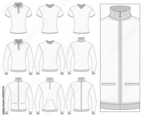 Men's short and long sleeve clothes.