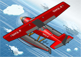 Isometric Artic Hydroplane in Flight in Rear View