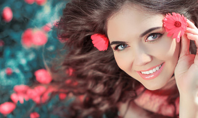 Beauty woman portrait with flowers. Free Happy Girl Enjoying Nat